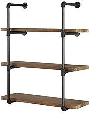 Yuanshikj Industrial Wall Mount Iron Pipe Shelf Shelves Shelving Bracket Vintage Retro Black