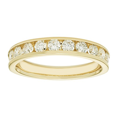 - 14K Yellow Gold Channel-Set Diamond Wedding Anniversary Band Ring (1.00 cttw, I Color, I1 Clarity)