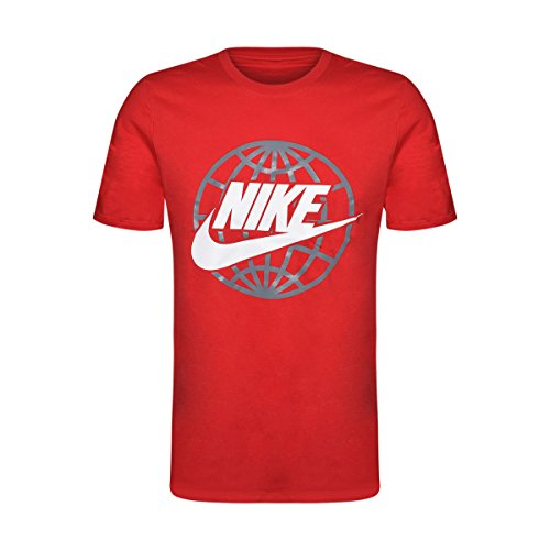 Nike Männer Nike läuft dieses Grafik T-Shirt Nike Globe / Rot / Grau