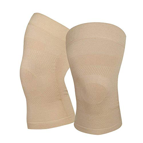 Knee Compression Sleeves, 1 Pair, Lightweight Knee Brace Sleeve for Men Women, Upgraded Knee Support for Meniscus Tear, Arthritis, Pain Relief, Injury Recovery, Sports, Daily Wear, Beige XXL