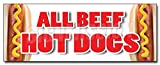 """36"""" ALL BEEF HOT DOGS DECAL sticker red hots weiner franks burgers footlong"""