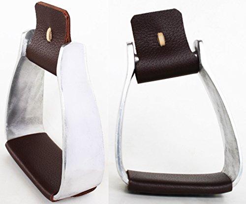 Pro Rider Horse Saddle Western Angled Slanted Aluminum Stirrups Leather Tread 5128BR