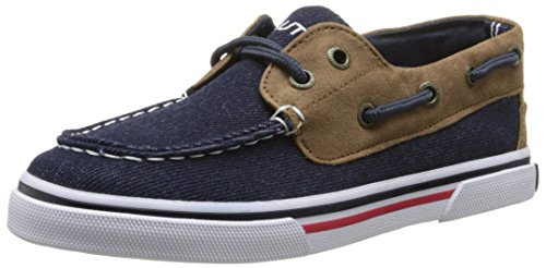 Nautica Galley Boat Shoe (Little Kid/Big Kid), Denim/Tan, 5 M US Big Kid Big Kids Tan Apparel