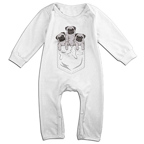 [Raymond Pocket Pug Long Sleeve Jumpsuit Outfits White 12 Months] (Pug Costumes For Christmas)
