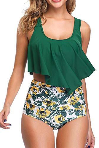 Adisputent Women's Two Piece Swimsuit Flounce Ruffles Swimwear Junior Vintage Bathing Suit High Waisted Bottom Bikini Set (Green Sunflowers,L) ()