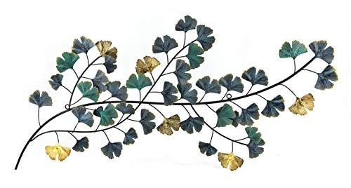 - Bellaa 23967 Japanes Style Metal Wall Art Flower Golden Blue 37