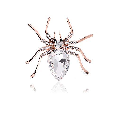 Axmerdal Crystal Rhinestone Spider Fashion Pin Brooch Creative Women Jewelry Accessory Halloween Gift for Women (Silver)