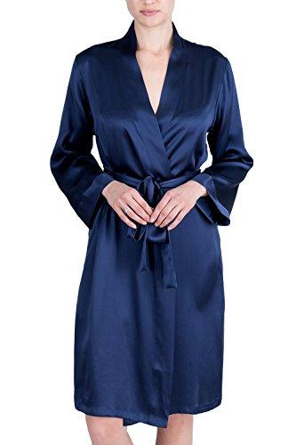 OSCAR ROSSA Women's Luxury Silk Sleepwear 100% Silk Robe Kimono,Midnight Blue,XX-Large