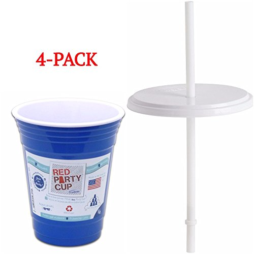 Trudeau Double Wall 16 oz. Red Party Cup with Lid and Straw - 4 Pack- Blue - Reusable Beverage Cup - Insulated for Drinking (Red And Blue Party Cups)