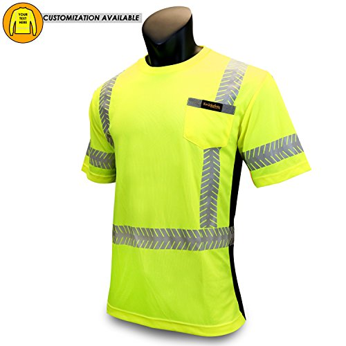 KwikSafety DISCOVERY | Class 2 Short Sleeve Safety Shirt | 360° ANSI Compliant Work Wear | Hi Vis Moisture Wicking Silver Fishbone | Men Women Construction Exercise Security | Yellow (High Vis Tape)