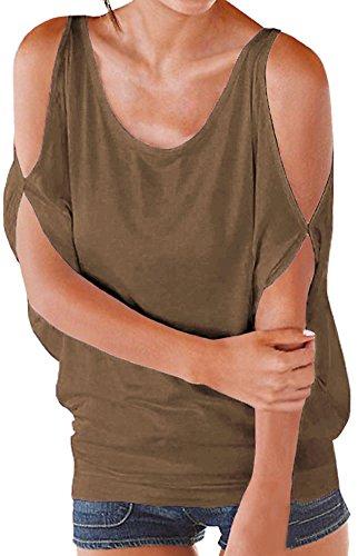 PinupArt Women's Summer Cold Shoulder Shirring Drape Shirt Top M Coffee - Scoop Back Top