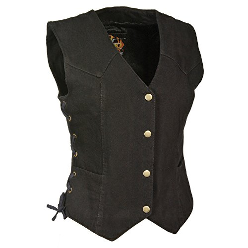Zoom Leather - ZOOM LEATHER-Ladies Side Lace 3 Snap Front Denim Vest-BLACK-MD