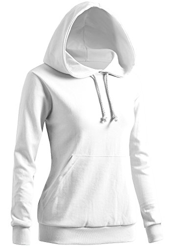 (CLOVERY Women's Simple Design Long Sleeve Hoodie White Small)