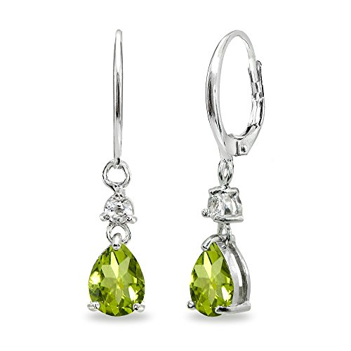 Sterling Silver Peridot & White Topaz 8x6mm Teardrop Dangle Leverback Earrings ()