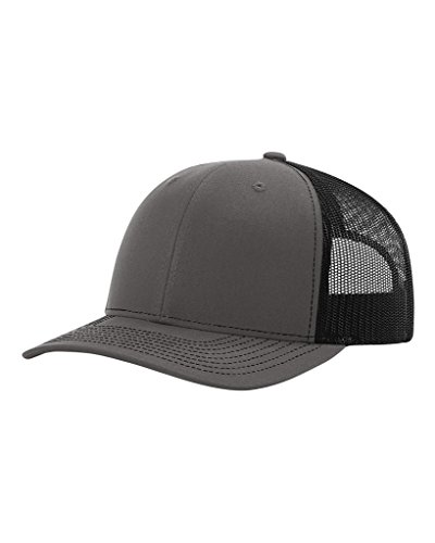 7c8d400de Richardson Twill Mesh Back Trucker Snapback Hat -- Charcoal/Black