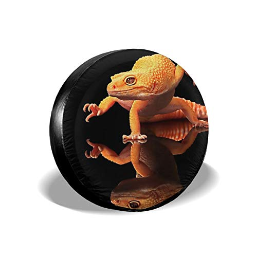 Waterproof Tire Cover - Orange Geckos Inverted Reflection Tire Sun Protectors Weatherproof Wheel Tire Cover Liberty Spare Tire Cover 15 Inch