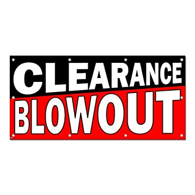 """Graphics and More Clearance Blowout Sale - Store Retail Business Sign Banner - 58"""" (width) X 28"""" (height)"""