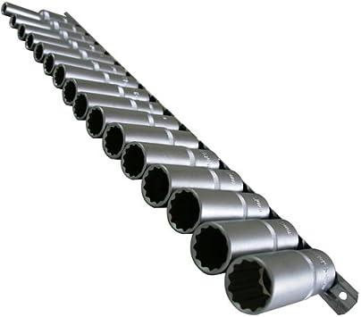 9 mm lange STECKSCHL/ÜSSELEINSATZ Stecknuss Vielzahn NUSS 12-KANT//Zw/ölfkant 3//8-Antrieb aus Chrom-Vanadium-Stahl Doppel-Sechskant//Doppel-6-kant