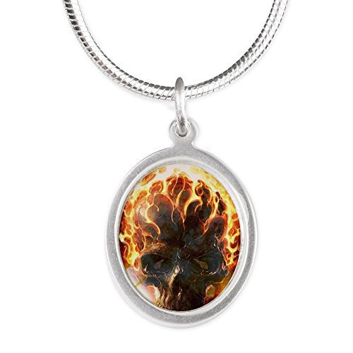 Royal Lion Silver Oval Necklace Flaming Skull - Flaming Skull Necklace