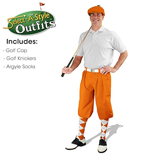 Golf Knickers Mens Select-A-Style Outfit - Orange - Waist 32 - Sock - NY/OR by Golf Knickers