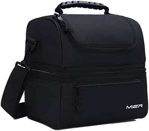 MIER Adult Lunch Box Insulated Lunch Bag Large Cooler Tote Bag for Men, Women, Double Deck Cooler(Black)