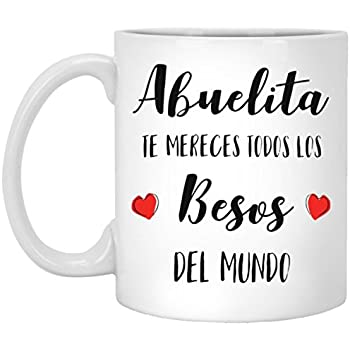 SAYOMEN - Abuelita Besos - Feliz Dia De La Madre Abuelita - Mothers Day Gift for Grandma - Mothers Day Coffee Mug for Grandma (in Spanish), MUG 15oz