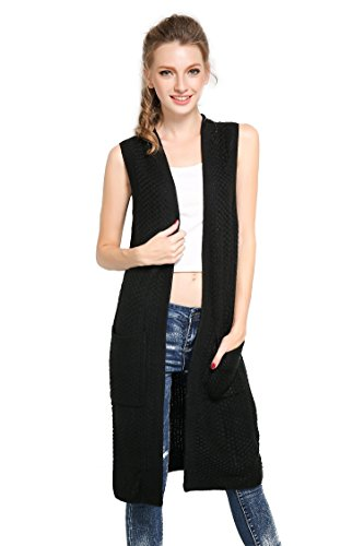 Roshe's Boutique Women's Pockets Long Sweater Vest Cardigan,Black,Medium (Black Long Vest)