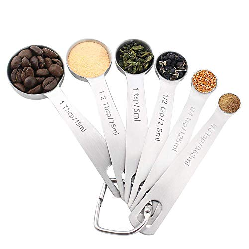 NoraClan Accurate Stainless Steel Measuring Spoons, Set of 6 for Measuring Dry and Liquid Ingredients, Rounded Tablespoon Kitchen measuring spoon
