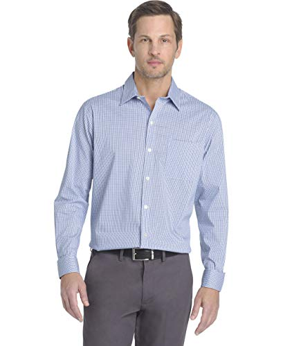 - Van Heusen Men's Traveler Stretch Non Iron Long Sleeve Shirt, Mazarine Blue Check, Large