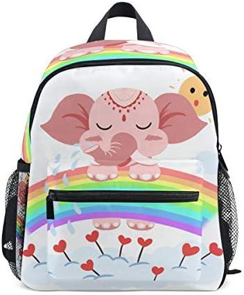 ピンクエレファントレインボー幼児バックパックブックバッグミニショルダーバッグ1-6年旅行男の子女の子子供用チェストストラップホイッスル