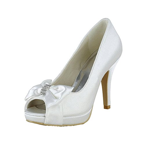 Kevin Fashion mz1257 Ladies Peep Toe Stiletto satén novia boda formal fiesta noche Prom sandalias blanco