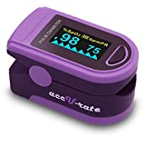 Acc U Rate® Pro Series CMS 500D Deluxe Fingertip Pulse Oximeter Blood Oxygen Saturation Monitor with silicon cover, batteries and lanyard (Royal Purple)