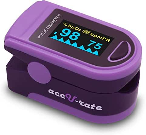Acc U Rate Pro Series CMS 500D Deluxe Fingertip Pulse Oximeter Blood Oxygen Saturation Monitor with silicon cover, batteries and lanyard, Royal Purple