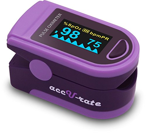 Zacurate Pro Series 500D Deluxe Fingertip Pulse Oximeter Blood Oxygen Saturation Monitor with silicon cover, batteries and lanyard, Royal Purple - Rated Lanyard