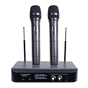 sound town professional dual channel vhf handheld wireless microphone system 2. Black Bedroom Furniture Sets. Home Design Ideas