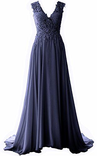 MACloth Women Straps V Neck Lace Chiffon Prom Dress 2017 Formal Evening Gown (26w, Dark Navy) (Plus Size 90s Fancy Dress)
