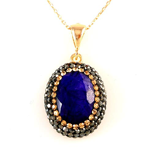 - Rose Gold Plated Sterling Silver Oval Blue Sapphire with Crystals Handmade Pendant 16+2 inches Chain