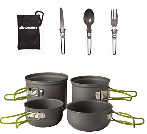 Folding Pot (Wealers Cookware 7 Pieces Kit Cookset Backpacking Gear & Hiking Outdoors Cooking Equipment - Lightweight, Compact, & Durable Pot Pan Bowls - Free Folding Cutlery Set)