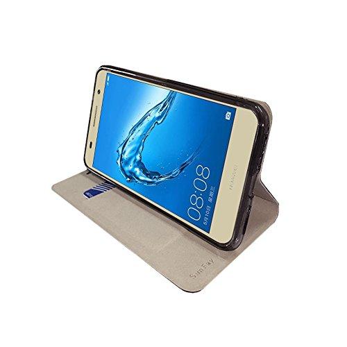 Funda Huawei Y7 Prime, SunFay Cartera Carcasa Flip Folio Caja Piel PU Suave Super Delgado Estilo Libro,Soporte Plegable para Huawei Y7 Prime - Azul Azul