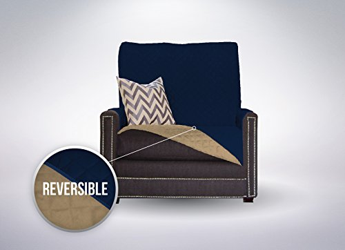 The Original SOFA SHIELD Reversible Furniture Protector, Features Elastic Strap (Chair: Navy/Sand) - Sand Microfiber Sofa