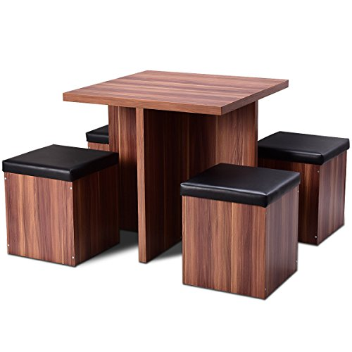 (Wood Dining Table Set Kitchen Dinette Table Set Storage Ottoman Stool 5 Piece )