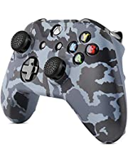 TNP Silicone Gel Controller Skin Set for Xbox One S / One X - Soft Rubber Grip Protective Case Cover & 4 Large 4 Small Anti-Slip Thumbstick Caps for Microsoft Wireless Gaming Gamepad (Camo Black)