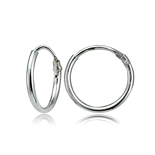 Sterling Silver Small Endless 10mm Lightweight Thin Round Unisex Hoop Earrings Photo #1