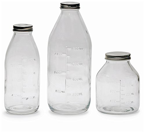 Circleware Odile Glass Beverage (Set of 3) Drinking Milk Bottles with Embossed Capacity Measuring Marks, 33/17/17 oz, Clear ()