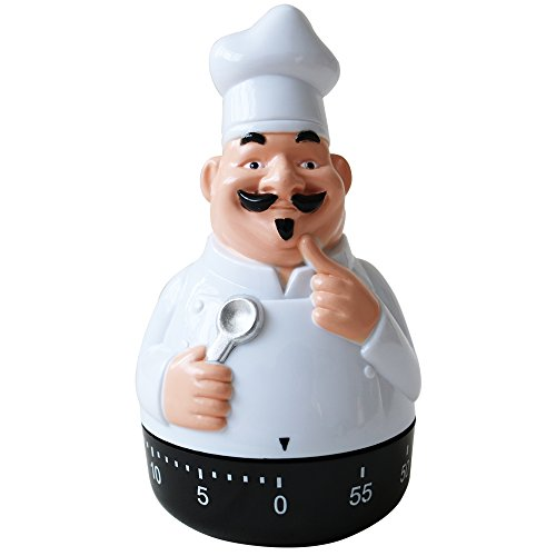 Timer Chefs - Small Black 60 Minutes Cute Timer for Kids Chef Timers Shape Mechanical Timer Cooking Timer Kitchen Kids Timer