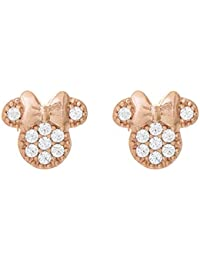 Minnie Mouse Jewelry for Women and Girls, Pink Gold Plated Sterling Silver Cubic Zirconia Stud Earrings Mickey's...
