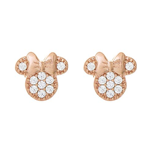 (Disney Minnie Mouse Jewelry for Women and Girls, Pink Gold Plated Sterling Silver Cubic Zirconia Stud Earrings Mickey's 90th Birthday Anniversary)
