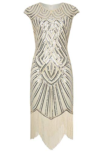 BABEYOND Women's Flapper Dresses 1920s Beaded Fringed Great Gatsby Dress Beige