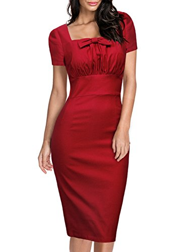 Business Dress Red Bowknot 111 Work Bodycon Office Pencil Wear to Slim Sleeve Women's 1950s HELYO 1 Short zRZOZq