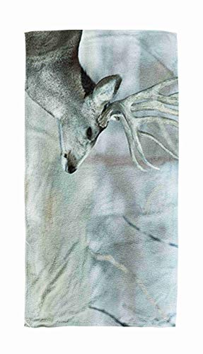 Crannel Kids Beach Towel, Quick-Drying Towel 30X60 Inch Swimming Absorbent Towel Bath Towel Male Deer Sunny Winter Day Near a Denver Colorado Out Beach Towel Hot Spring Tourism Camping Blanket